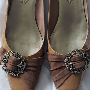 Franco Sarto Gold Patent Leather Low Heels